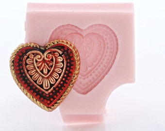 Silicone Heart Mold Flexible easy to use Cabochon Mold Food Safe use with Fondant Chocolate Candy Mints Butter or Craft Mold Resin Clay (843