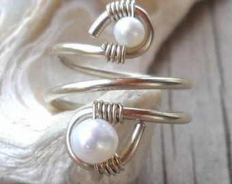 wisted Ring Fresh Water Pearl,Gemstone Wrapped Silver Wire T Size 6,7,8