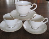 Noritake Halls of Ivy #7341 Gold One Set of 3 Cups and 3 Saucers Japan