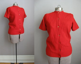 1950s Sweater Red Cardigan Sweater 50s Textured Knit Short Sleeve / Small