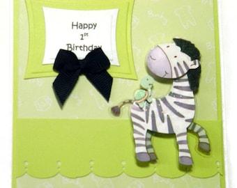 Zebra Happy 1st Birthday Card - Baby's First Birthday - Card for Baby - First Birthday Card - Zebra Card