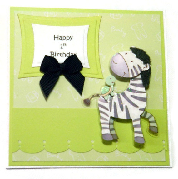 Baby Card Zebra Happy 1st Birthday Card Baby's By BethiesCards