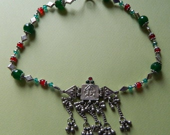 RARE and REGAL Rahjastani silver three piece pendent  on a ruby and emerald necklace