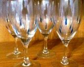VALENTINESALE Blue Tear Drop Wine Glasses Set of 4