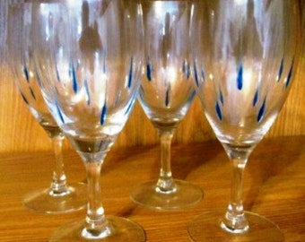 Blue Tear Drop Wine Glasses Set of 4