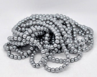 Gray Glass Pearl Round Beads 8mm, 1 strand of 53-55 beads