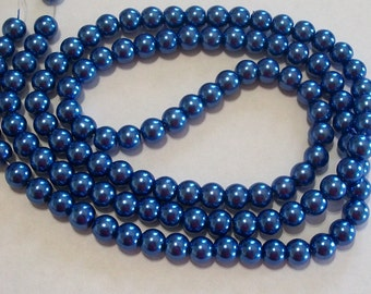 Blue Glass Pearl Round Beads 8mm, 1 strand of 105-110 beads