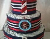 FREE SHIPPING, Simple Nautical Diaper Cake