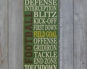 Football Typography Word Art Sports Wood Sign Nursery Wooden Typography Subway Sign