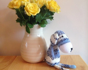 Amigurumi dog, crochet dog, crochet animal,sort toy, dog plushie, crochet, blue and white dog,amigurumi toy,childrens gift,baby gift.