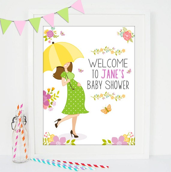 baby shower welcome sign printable umbrella baby shower decor