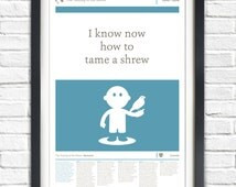 The Taming of the Shrew - William Shakespeare - Play - 17x11 Poster