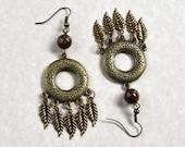Bohemian Antique Bronze Feather Earrings Bronzite Natural Stone Boho Dangle Ethnic Brown Long Drop Earth Tones Fashion Jewelry Free Shipping
