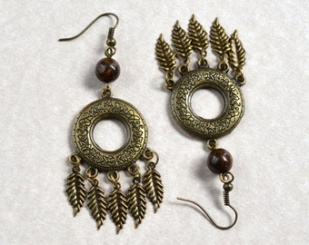 Bohemian Antique Bronze Feather Earrings Bronzite Natural Stone Boho Dangle Ethnic Brown Long Drop Earth Tones Fashion Jewelry Free Shipping