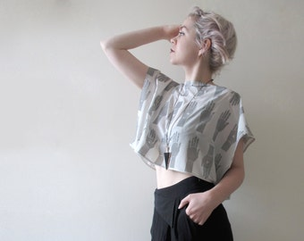 UNIQUE ITEM - Sheer Chiffon Boxy Top In Tarot Print - Grey, Size S/M