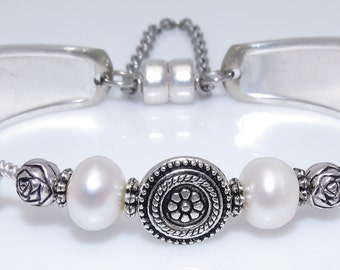 Satin Finish Handcrafted Beaded Spoon Bracelet Freshwater Pearls and Silver Plated Roses