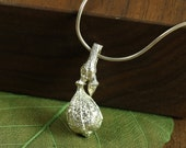 Sterling Silver Fig Pendant Necklace made from a real Fig on Sterling Silver Snake chain, Fig necklace, Silver fig