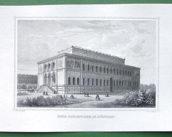 GERMANY Bavaria Munich View of New Pinakothek - 1860s Original Antique Print Engraving