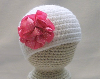 SALE Crocheted Baby Girl's Flapper Hat White with Pink Polka Dot Rosette Baby Girl's Cloche Hat Baby Girl Beanie 0 - 3 Months
