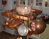 18 Inch SQUARE Hanging Solid Copper Pot Rack with 16 hooks and 64 inches of copper chain FREE U S Shipping