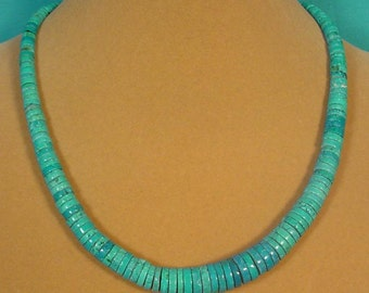 "GORGEOUS 18"" Gradiated Turquoise Heishi necklace - N282"