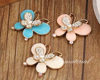 1PCS Bling Crystal White Butterfly Flatback Alloy jewelry accessories For DIY phone case deco