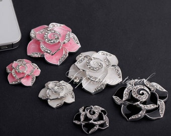 1set Crystal Camellia Flatback Alloy jewelry accessories materials supplies
