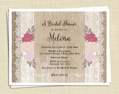 20 Shabby Chic Bridal Shower Invitations - Roses and Lace - Rustic Invitation - Cottage Chic - PRINTED