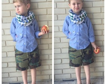 Robot Baby/Kids/Toddler Infinity Scarf // Robot Infinity Scarf // Blue Green Boys Loop Scarf // Boys Scarf // Kids Eternity Scarf