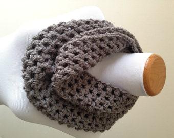 Gray Scarf - Gray Infinity Scarf - Gray Crochet Scarf - Gray Knit Scarf - Infinity Scarf - Knit Infinity Scarf - Grey Scarf - Gray Cowl