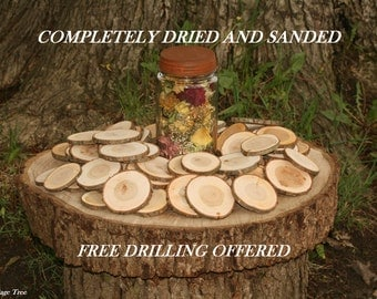 "300 Rustic Wedding Wood Tree Slices Decor Cherry Disc 2-3"" Tree Slices-Completely Dried and Sanded"