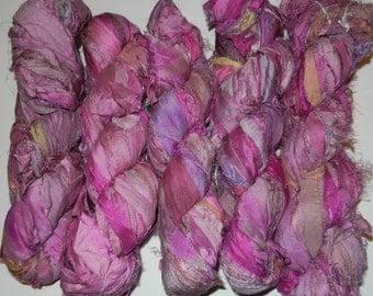 Recycled Sari Silk Ribbon Yarn,3.5 oz / 100 grams, 60 yards Bulky,Pretty Petunia