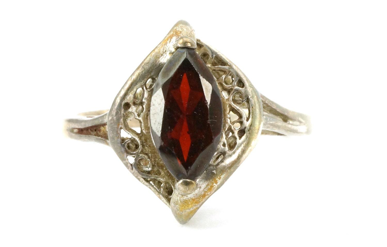 sterling silver marquise cut garnet avon ring
