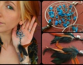 Blue Apatite Bohemian Hippie Dream Catcher Earrings with Hand Arranged Feathers by The Emerald Lotus