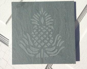 VT Slate engraved trivet tile: Pineapple design