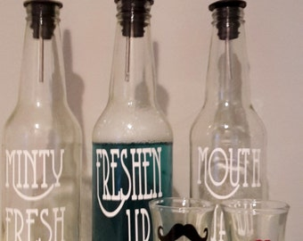 Retro MOUTHWASH Dispenser Soda Bottle with Flip Top Mr. and Mrs. w/ His and Hers 1.8 oz shot glasses Mouthwash lip mustache shot glass cups