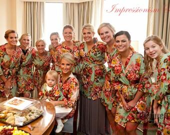 Set of 12, Bridesmaids Gift Kimono robes bridesmaids Light green Bridesmaid gift, Bride to be, Bridal Shower, Maid of Honor, bridal party
