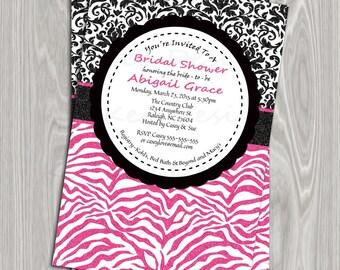 DIY Printable 4x6 Bridal Shower Invitation- Glitter Black Damask and Hot Pink Zebra