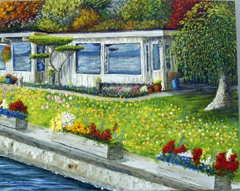Original art, Beach House, Nautical art, signed, limited edition Giclee Print, Flower Boxes, Garden.