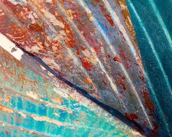 Old Boat Photography Nautical Wall Art Fishing Boat Photo Rust Metal Peeling Paint Aqua Teal Orange Red Martha's Vineyard Print