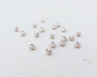 Sterling Silver Beaded Squash Rondelle Spacer 4mm x 5mm (8 Beads)