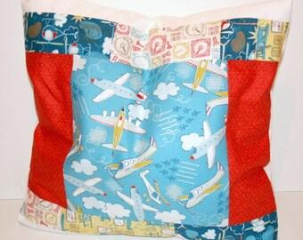 Planes Pillow Cover, Boy Nursery Bedding, Helicopter Cushion Cover, Kids Room Decor, Aeroplane Nursery Decor, Playroom Cushion