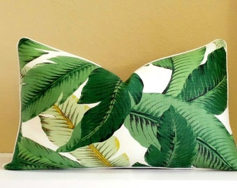 Green Lumbar pillow cover -Tropical pillow cover - tropical print on both sides, pick your size - Banana Leaf Pillow -