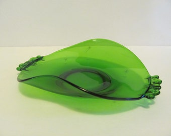 Emerald Green Candy Dish Rolled Curled Curved Edge Starburst