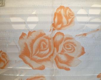 Floral Scarf, White and Light Orange, Roses, Nylon Scarf