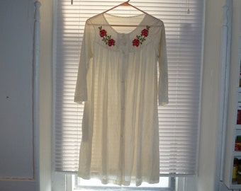 White Mid Length Nightgown, Rose Detail, Nylon Night Shirt, Button Down Nightgown, 3/4 Length Sleeves, Size Small
