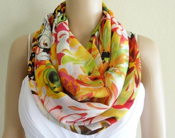 Pattern Scarf. Floral Infinity Scarf. Flower Circle Scarf. Printed Chiffon Loop Scarf.