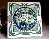 "Stampin up/ Spellbinders Christmas Handmade ""Peace on Earth"" card NEW"