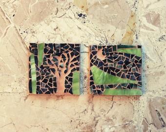 mosaic art / minimal dark green acid mosaic / SAVANA / tribal, nature, moon, tree / glass mosaic / shabby chic mosaic / original mosaic