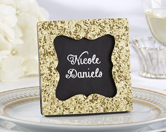 22ac3dde946 Gold Glitter Chalkboard Place Card Frame Holder Name Escort Card Chalkboard  Or Photo Frame Wedding Favor Chalkboard Place Frames